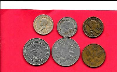 Philippines 6 Diff Different 1968-1993 Old Coin Lot Collection Set Group W Large
