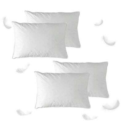 Set of 4 - Luxury Washable Duck Feather Standard Pillow 100% Cotton Cover