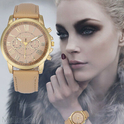 Damen Modisch Armbanduhr Roman Numerals Faux Leder Metal Analoguhr Quartz Watch