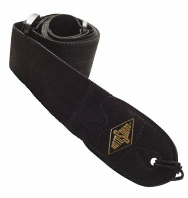 BLACK Guitar or Bass Strap with quality webbing and leather ends by Rotosound
