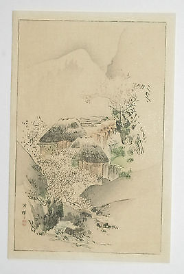 MOUNTAIN STREAM & COTTAGE : ORIGINAL 1890s JAPANESE WOODBLOCK PRINT - SEITEI