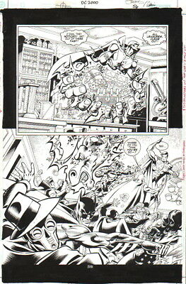 Val Semeiks 2000 Justice League Jla Vs. Justice Society Jsa Orig. Art-Free Ship!