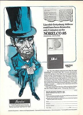 1971 Norelco 85 Personal Dictater President Lincoln Ad