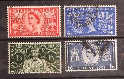 GREAT BRITAIN: 1953 CORONATION. Set of four used stamps.