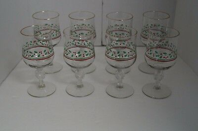 8 Vintage Arby's Libbey Bow Stem Glasses Holly Berry Gold Rim Christmas Holiday