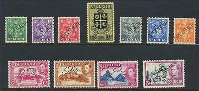 """ST LUCIA 1938, """"SPECIMEN"""" VALS TO 10sh VF NH SG#128s+ (SEE BELOW)"""