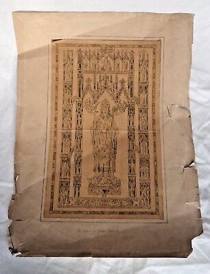 JOHN HARDMAN & CO / PUGIN c1900 STAINED GLASS WINDOW OR PLAQUE DESIGN