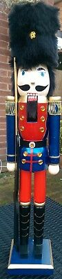 Nutcracker Soldier Christmas Extra Large 62Cms Red & Blue With Fur Busby Bnwt