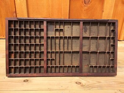 Large Antique Vintage Wood Wooden Printer's Typeset Tray w/Brass Reinforcements