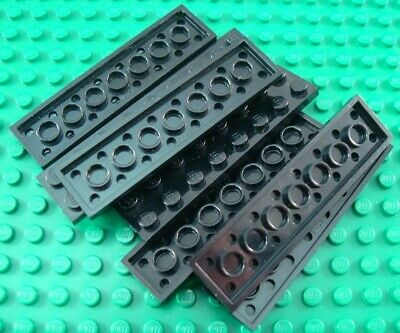 LEGO Lot of 8 Black 2x8 Flat Building Plate Pieces