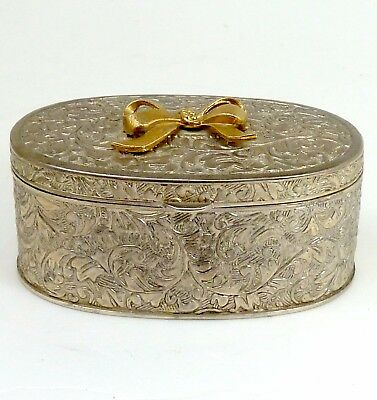 Silver Jewelry Or Ring Box Velvet Lined