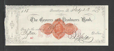 1873-74 Grocers Producers Bank Providence Ri Antique Check Revenue Black Print