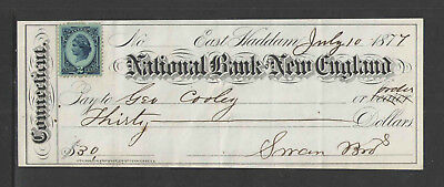1877 or 1878 THE NATIONAL BANK OF NEW ENGLAND EAST HADDAM CONN ANTIQUE CHECK