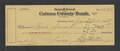 1928 MAXWELL BRANCH COLUSA COUNTY BANK MAXWELL CALIF Large ANTIQUE BANK CHECK