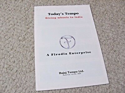 1980's TODAY's TEMPO (INDIA) SALES BROCHURE