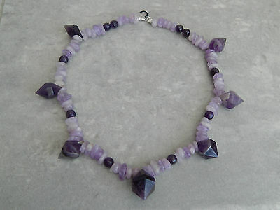 Amethyst Prism Beaded Necklace in Sterling Silver