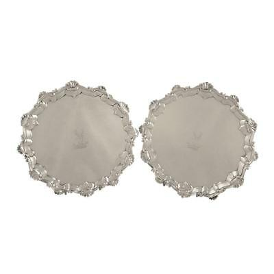PAIR of ANTIQUE GEORGIAN STERLING SILVER TRAYS / SALVERS 1763