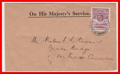 Basutoland 1934 Maseru KGV 2d OHMS Single FrankeD cover to Canada