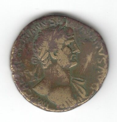 Hadrian Sestertius Male God Seated ? Ad 117 Nice Condition Auction Starts At £1