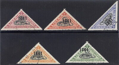 "Liberia 1921 SNAKE registration triangles, all INVERTED ""1921"" used $ #F25-9"