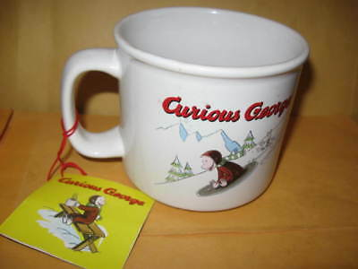 New CURIOUS GEORGE MUG w/ TAG ceramic george on sled monkey UNUSED