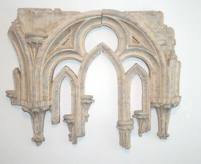 Large Arched GOTHIC TRACERY Wall Sculpture Art Medieval Decor 2 Pieces #319-889