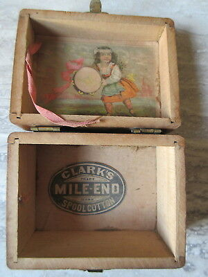 Antique Clark's Mile End Spool Cotton Small Wooden Box
