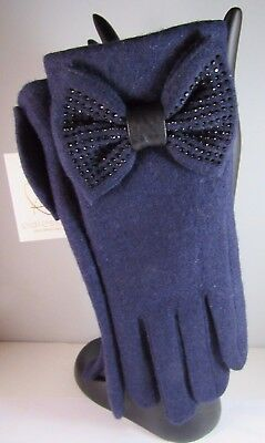 Pia Rossini Navy Blue With Bow Rhinestone Gloves One Size NWT Warm Soft and Cozy