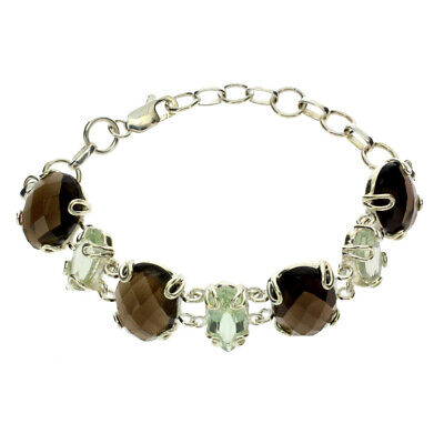 Smoky Quartz and Green Quartz Sterling Silver Bracelet Lobster Claw Gemstones