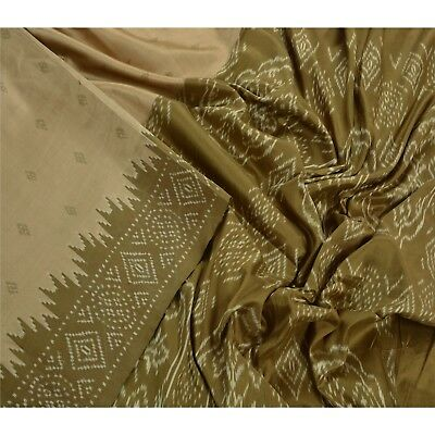 Sanskriti Vintage Indian Saree Woven Patola Sari Fabric 100% Pure Silk Cream