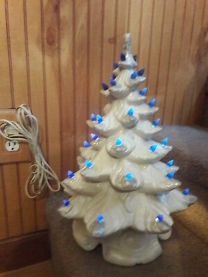 White Christmas Tree With Blue Lights.Vintage Ceramic Christmas Tree White With Blue Lights