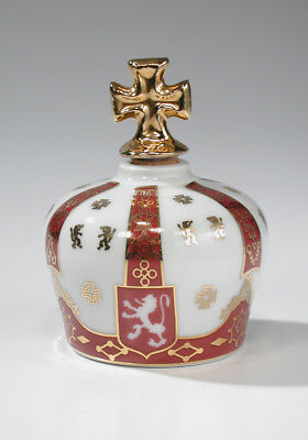 "Vintage Limoges Sempe 3-1/2"" King Henry 8 Armagnac Porcelain Crown Bottle France"