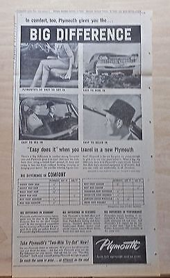 1959 newspaper ad for Plymouth - Big Difference in Comfort, list of features