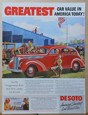 Vintage 1937 magazine ad for DeSoto - red De Soto at the Polo field, Great Value