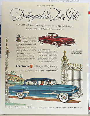 Vintage 1953 magazine ad for DeSoto - Firedome and Powermaster, Distinguished