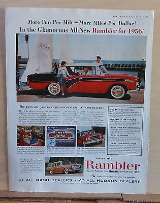 Vintage 1956 magazine ad for Rambler - red & black 4-door hardtop, Smart Switch
