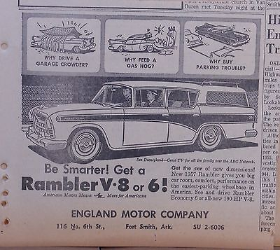 1957 newspaper ad for Rambler - Station wagon, Be Smarter get a V-8 or 6