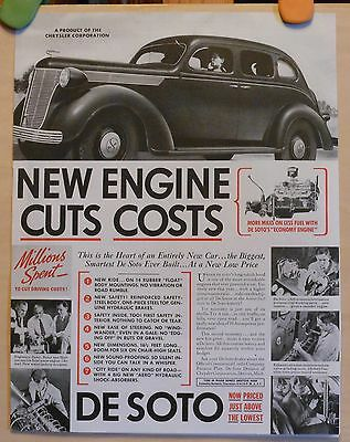 Vintage 1938 ad for DeSoto Autos - Photo ad - New Engine Cuts Costs