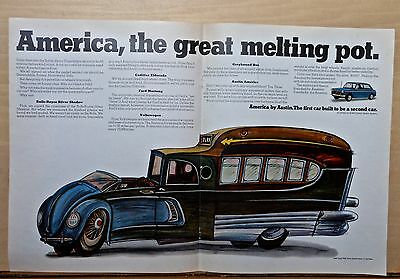 1968 magazine ad for Austin - America Great Melting Pot, comic car illustration