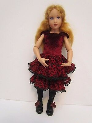 """Helen Kish 14"""" Doll Little Lady in Red Velvet, Great Condition, no box & COA"""