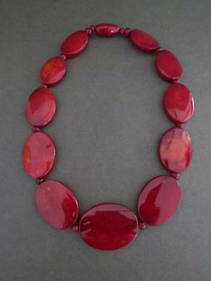 Vintage Mid Century Modernist Red Lucite Necklace