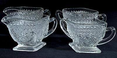 2 Sets of Indiana Glass Sugar and Creamers Daisy and Diamond Pattern