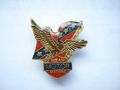 VINTAGE MEAN MOTOR MACHINE AMERICAN FLAG MOTOR CYCLE CAR BSA BIKE PIN BADGE 99p