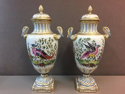 Pair 18th C Porcelain Urns Chelsea Derby Gold Anchor Mark Bird Floral Gilding