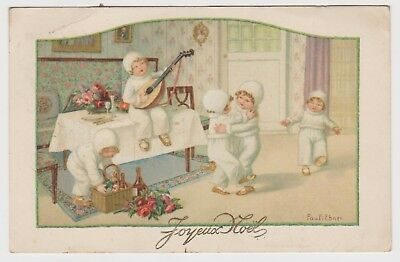 Pauli Ebner Children Have a New Year Party: Old ChromoLitho PPC, G.Used 1927/28.