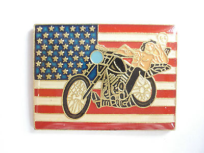 VINTAGE EASY RIDER FILM FLAG HARLEY DAVIDSON MOTORCYCLE BIKE PIN BADGE SALE 99p