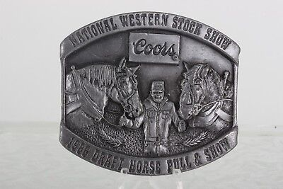 """""""Ntnl Western Stock Show Coors 1986 Draft Horse Pull & Show"""" Belt Buckle 6667B"""
