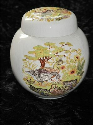 VINTAGE MELBA WARE Ginger Jar DUCK PATTERN Ridgway Potteries 1950s