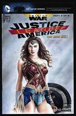 JLA Wonder Woman Gal Gadot DC Comics blank sketch cover original art Wu Wei
