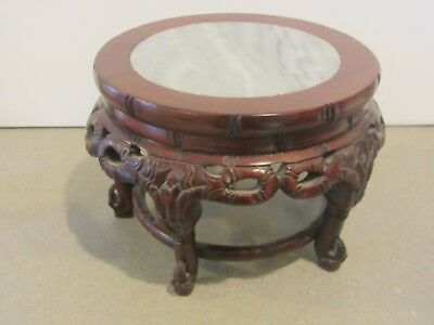 Vintage Chinese Carved Wood Stand Marble Top Inset Pedestal